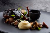 slow cooked beef with mashed and gravy poster