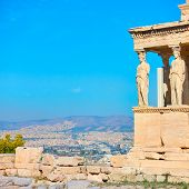 The Porch of The Caryatids on The Acropolis in Athens, Greece. Space for text        poster