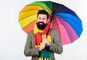 Prepared For Rainy Day. Carefree And Positive. Enjoy Rainy Day. Seasonal Weather Forecast. Man Beard poster