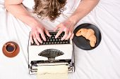 Man Typing Retro Writing Machine. Old Typewriter On Bedclothes. Male Hands Type Story Or Report Usin poster