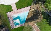 Aerial of Before and After Pool Build Construction Site. poster