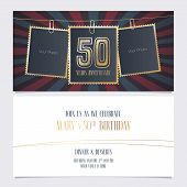 50 Years Anniversary Party Invitation Vector Template. Illustration With Photo Frames For 50th Birth poster