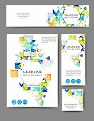 Set Of Advertising Flyers And Banners With Abstract Geometric Elements poster