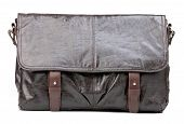 Brown men messenger bag over white