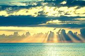 Beautiful Sea Landscape With A Sunset. Evening Sky With Clouds And Sunshine Over Ocean. Sun Rays Shi poster