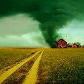 Tornado raken van een huis