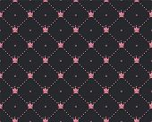 Funny Princess Pattern With Geometrical Structure And Royal Crown. Crown And Dots Princess Pattern,  poster