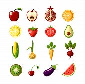 Healthy Food Colored Flat Icon Set. Fruits And Vegetables In One Set, Colored Flat Fresh Healthy Foo poster