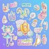 Brave Tomboy Princess Vector Cartoon Set. Princess Magic And Feminism Illustration, Little Teen Girl poster