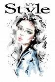 Hand Drawn Beautiful Young Woman With Nude Makeup. Stylish Blonde Hair Girl. Fashion Woman Look. Ske poster