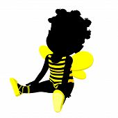 foto of bumble bee  - Little african american bumble bee girl on a white background - JPG