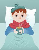 picture of little boys only  - Sick little boy lies and drinks hot drink - JPG
