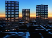 Buildings On Surreal Horizon Sunrise