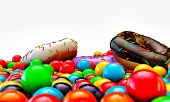 picture of gumballs  - donuts and gumballs isolated on white background - JPG