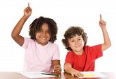foto of hands up  - Two student children with their hands raised up - JPG