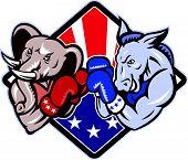 Demokraten Esel republikanischen Elefanten Maskottchen Boxen