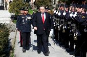 Evagelos Venizelos On Inspection Of Honorary Army Squad