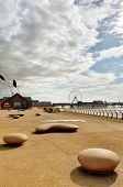 Blackpool promenade with modern sculptures