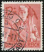 German Vintage Stamp, Macro
