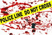 image of crime scene  - Crime scene tape across a blood stained pattern - JPG