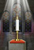 picture of plinth  - Church stained glass windows with lit candle on plinth - JPG