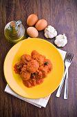 Meatballs with tomato sauce.