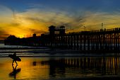 Oceanside Pier Silhouette At Sunset
