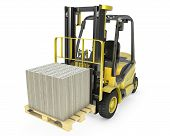 Yellow Fork Lift Truck Moves Stacked Dollars
