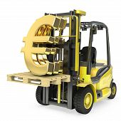 Fork Lift Truck Lifts Gold Euro Sign