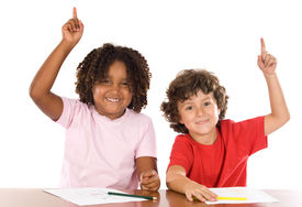 pic of hands up  - Two student children with their hands raised up - JPG