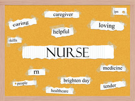 stock photo of rn  - Nurse Corkboard Word Concept with great terms such as caring rn helpful healthcare and more - JPG