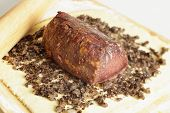 stock photo of beef wellington  - Preparing beef wellington - JPG