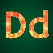Letter D in the autumn style