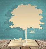 stock photo of boy girl shadow  - Abstract background with children read a book under tree - JPG