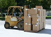 Forklift Carrying Boxes