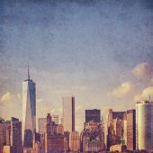 grungy, textured New York background - lower Manhattan view