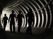 stock photo of mine  - Silhouette of workers in mine - JPG