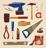 Tools set. Household series vector illustration.