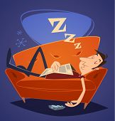 Man sleeping on sofa. Household series vector illustration.