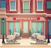 Restaurant facade. Vector illustration.
