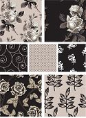 Vintage Style Floral Rose Seamless Vector Patterns.  Use to create digital paper for craft projects or print onto textiles for stunning home accessories.
