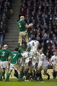 TWICKENHAM LONDON, 27/02/2010. Ireland player Paul O'Connell wins a lineout during the RBS 6 Nations