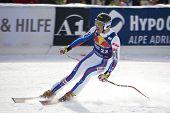 KITZBUHEL TIROL, AUSTRIA - JAN 24 2009; Kitzbuhel Tirol Austria, Adrien Theaux (FRA) competing in th