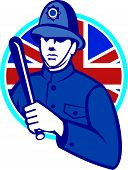 stock photo of truncheon  - Illustration of a British London bobby police officer policeman man wielding truncheon or baton also called cosh billystick billy club nightstick sap stick set inside circle with Union Jack flag in background retro style - JPG