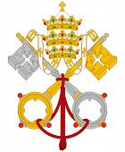 Vatican City coat of arms flag, detailed vector illustration.
