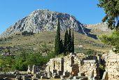 Vista da fortaleza Acrocorinto, Grécia