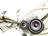 stock photo of lien  - Music notes with halftone wave lien background vector background - JPG