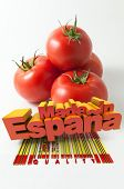 Tomatoes with the words Made in Espa�?�?�?�±a and a bar code marked quality
