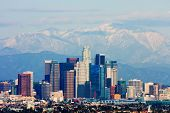image of snowy hill  - Los Angeles with snowy mountains in the background - JPG