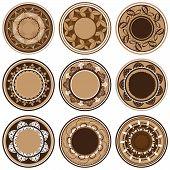 Placas con vegetación diferentes patrones, ornamento del círculo, Vector Illustration